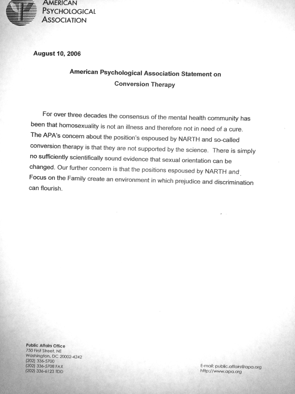 APA letter What The Mental Health Experts Say