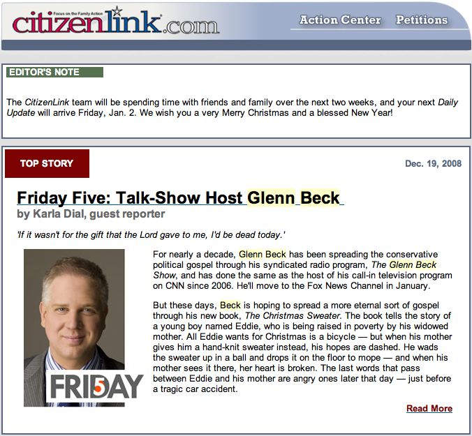 glennbeck Focus on the Family at Odds with Christians over Mormon Promo