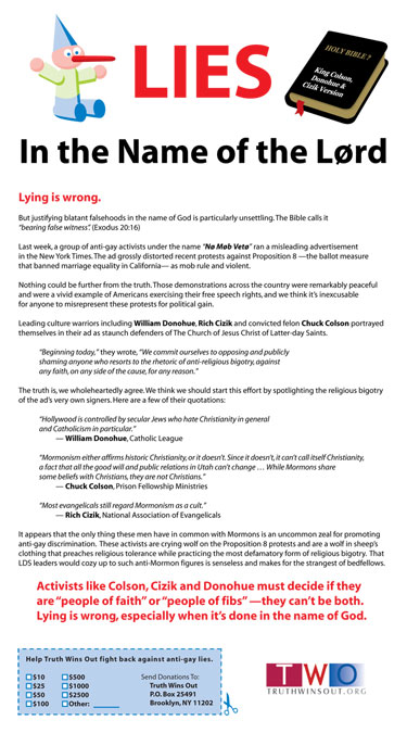 two ad small TWO Fights Back Against Lie Campaign With Hard Hitting Full Page Ad In The Salt Lake Tribune