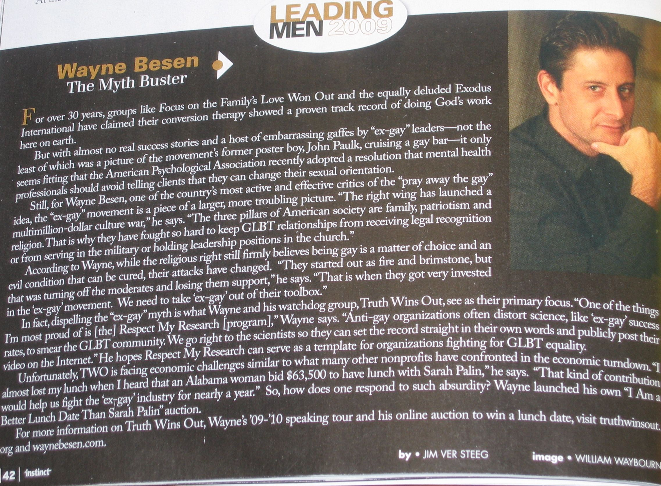 Wayne Instinct TWO Founder Wayne Besen Honored In Instinct Magazines Leading Man 2009 Issue