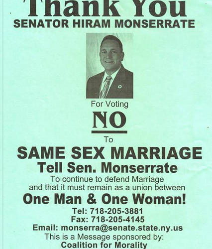Monserrate Coalition for Morality Thanks Senator Hiram Monserrate for Supporting Traditional Marriage
