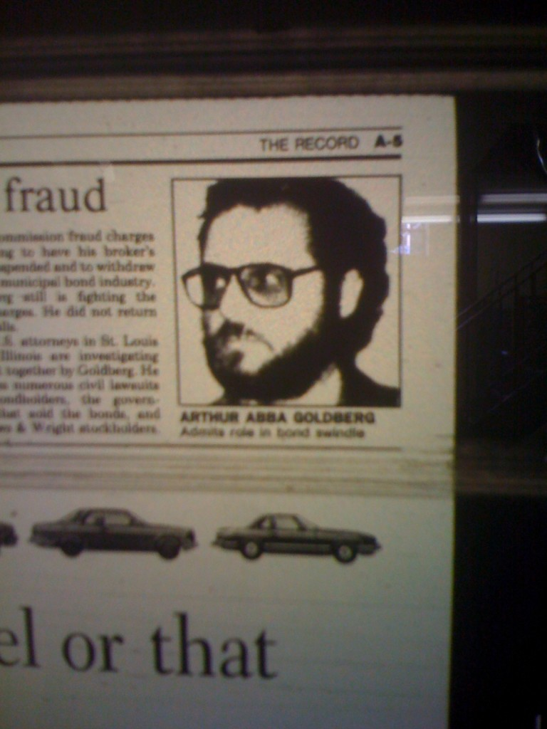 Goldberg News1 768x1024 TWO Exclusive: Pix of JONAHs Arthur Abba Goldberg In His Crook Days