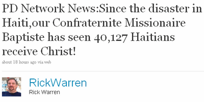 rick Rick Warren to Haiti: Eat My Prayers
