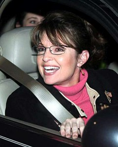 sarah palin in the car 240x300 Right Wingers Fail (Again) to Fill Arena   Even With Rock Star Sarah Palin Headlining