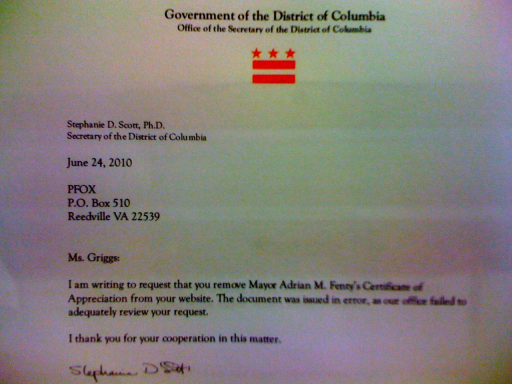 DC 1024x768 DC Mayor to PFOX: Take Down Certificate of Appreciation