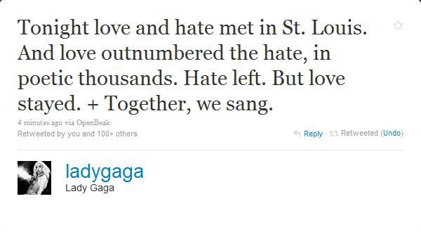 Gaga Love and Hate Met In St. Louis