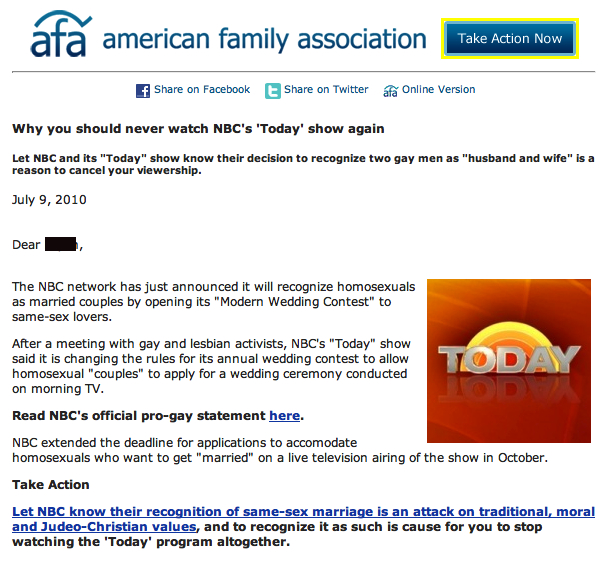afa AFA Urges Followers To Stop Watching The Today Show, Due To Gays
