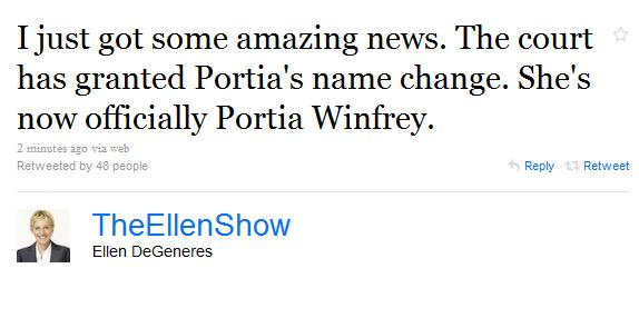 ellentweet Portia de Rossis Name Change Granted!