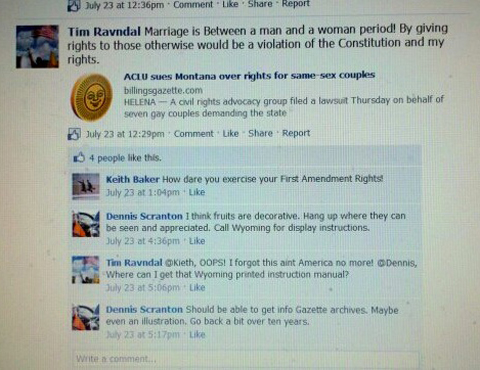 montana teabagger Leader of Montana Teabaggers Jokes About Anti Gay Violence on Facebook