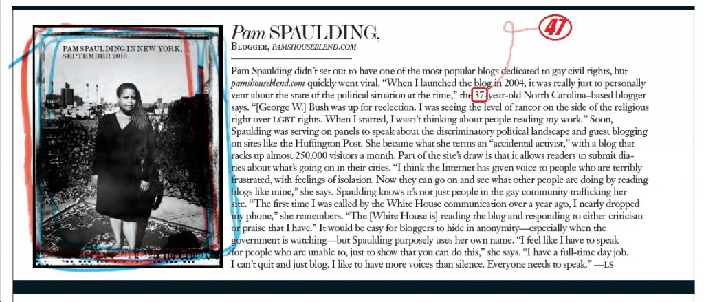PaminInterview47 1024x439 Look at Pam Spaulding in Interview Magazine!