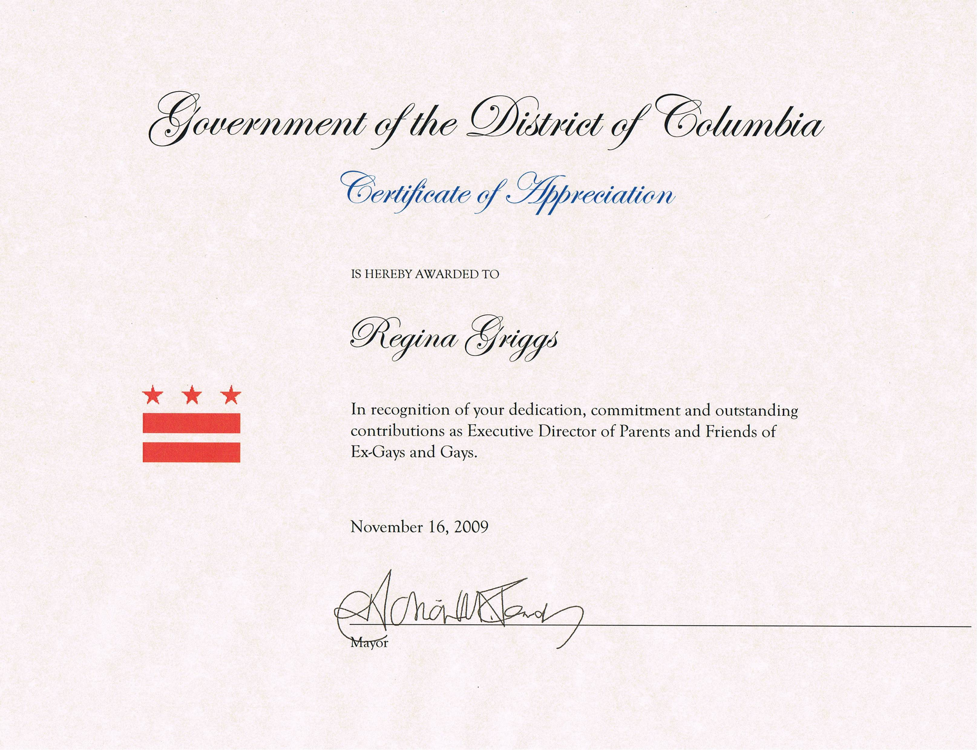 Regina Griggs DC Award PFOX Refuses To Take Down Rescinded DC Certificate of Appreciation