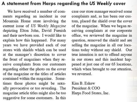 harps Arkansas Grocery Protects Children From Seeing Men With Baby [Dont Worry, They Fixed It]