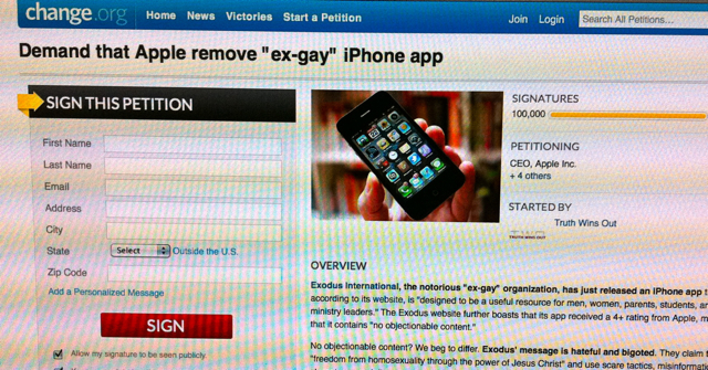 Petition 100 Petition Against Ex Gay iPhone app Hits 135,000...and counting