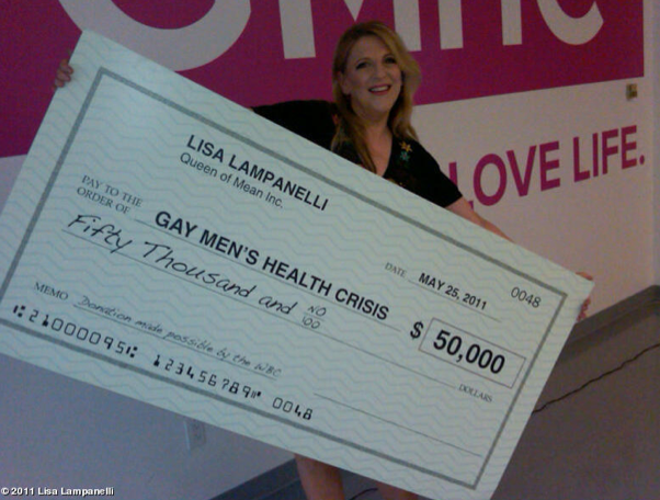 lisa Look, It Is Lisa Lampanelli With Her Big Check for the Gay Mens Health Crisis!