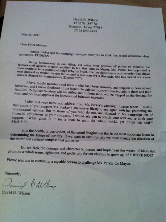 Wilsonletter1 Houston Mayor Annise Parker Being Targeted By Sad Bigot, Again