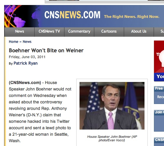 boner weiner My Inner Thirteen Year Old Laughs At CNS News