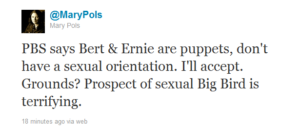 sexual big bird QOTD, Re: Petition to Gay Marry Bert and Ernie