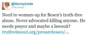 LindaHarveyTweet 300x123 TWO Responds to Lawsuit Threat By Anti Gay Activist Linda Harvey: Bring it On
