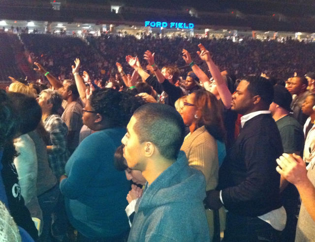 crowd2 TWO Special Report: The Call Detroit   A Slick Political Rally Disguised As a Religious Revival