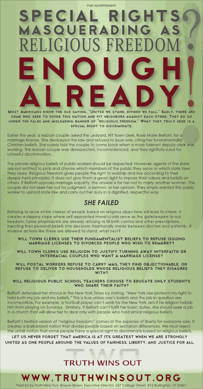 IthacaAdTWO1 TWO Debunks Fake 'Religious Freedom' Lie With Groundbreaking Full Page Ad