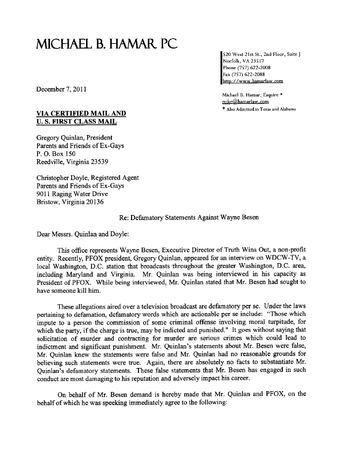 PFOC Lttr TWOs Letter Demanding That PFOX Apologize For Defamation