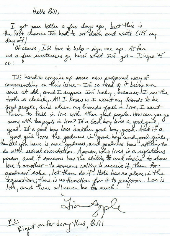 fiona gsa support Fiona Apples Letter To A High School Fan Starting a GSA