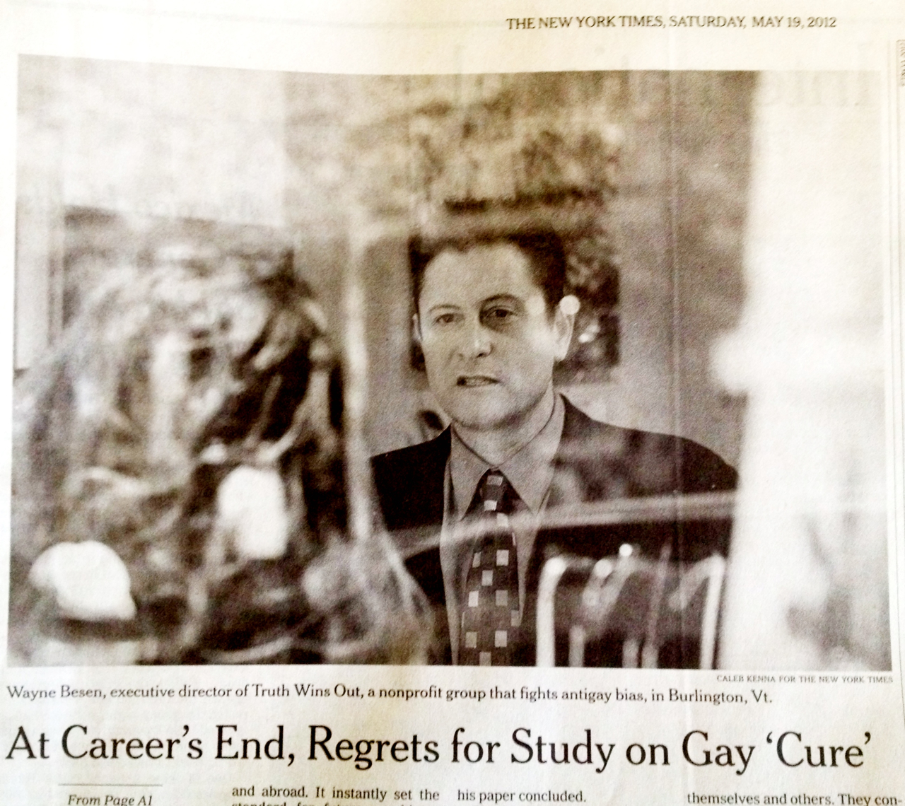 New York Times photo Alert: Major New York Times Story On Dr. Robert Spitzer Renouncing Ex GayStudy