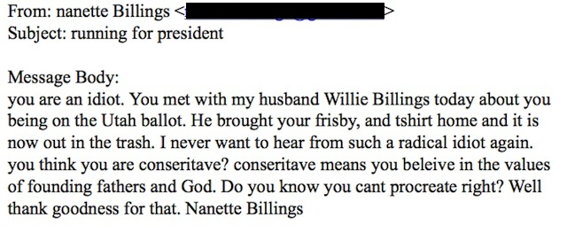 billings email Republican Utah Woman Does Not Like Gay Republican Presidential Candidate
