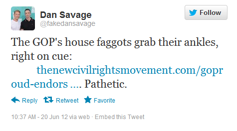 dantweet GOProud Endorses Anti Gay Romney, Dan Savage Reacts, Hurts Chris Barrons Feelings