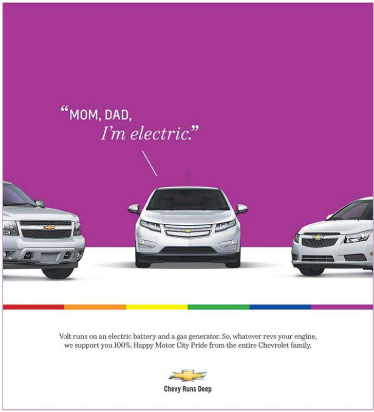 electric cars are gay Chevy Gay Pride Ad: Mom, Dad, Im Electric