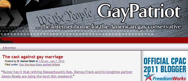 castagainstgaymarriage Gay Conservative Blog Calls Barney Franks Nuptials The Case Against Gay Marriage