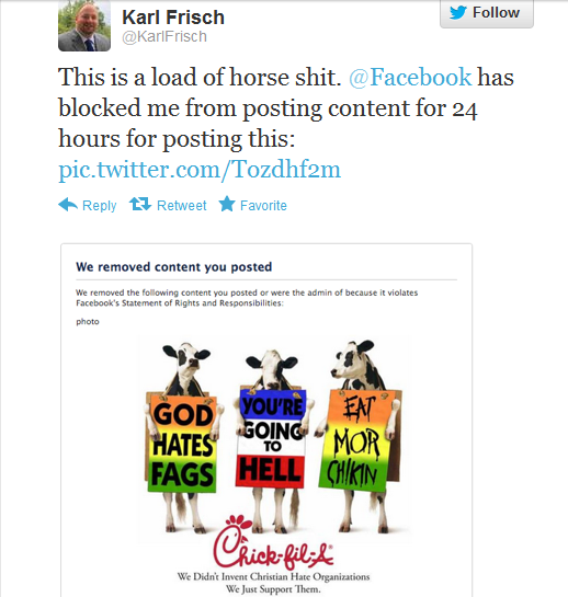frisch screen shot1 Facebook Bans Karl Frisch From Posting For A Day Due To Anti Chick Fil A Picture