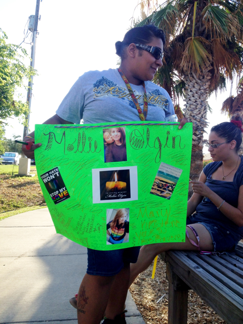 park sign vig Tragedy Strikes Texas: My Trip to a Vigil For Lesbian Couple