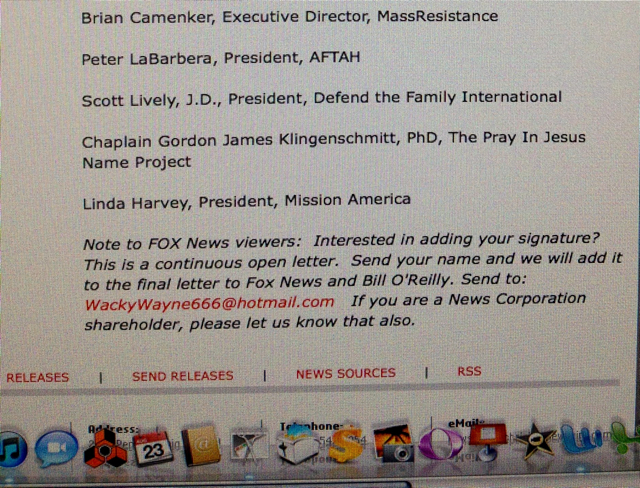 Screen Shot old1 AFA Joins Call To Blacklist TWOs Wayne Besen From FOX News; Fundies Launch New Petition