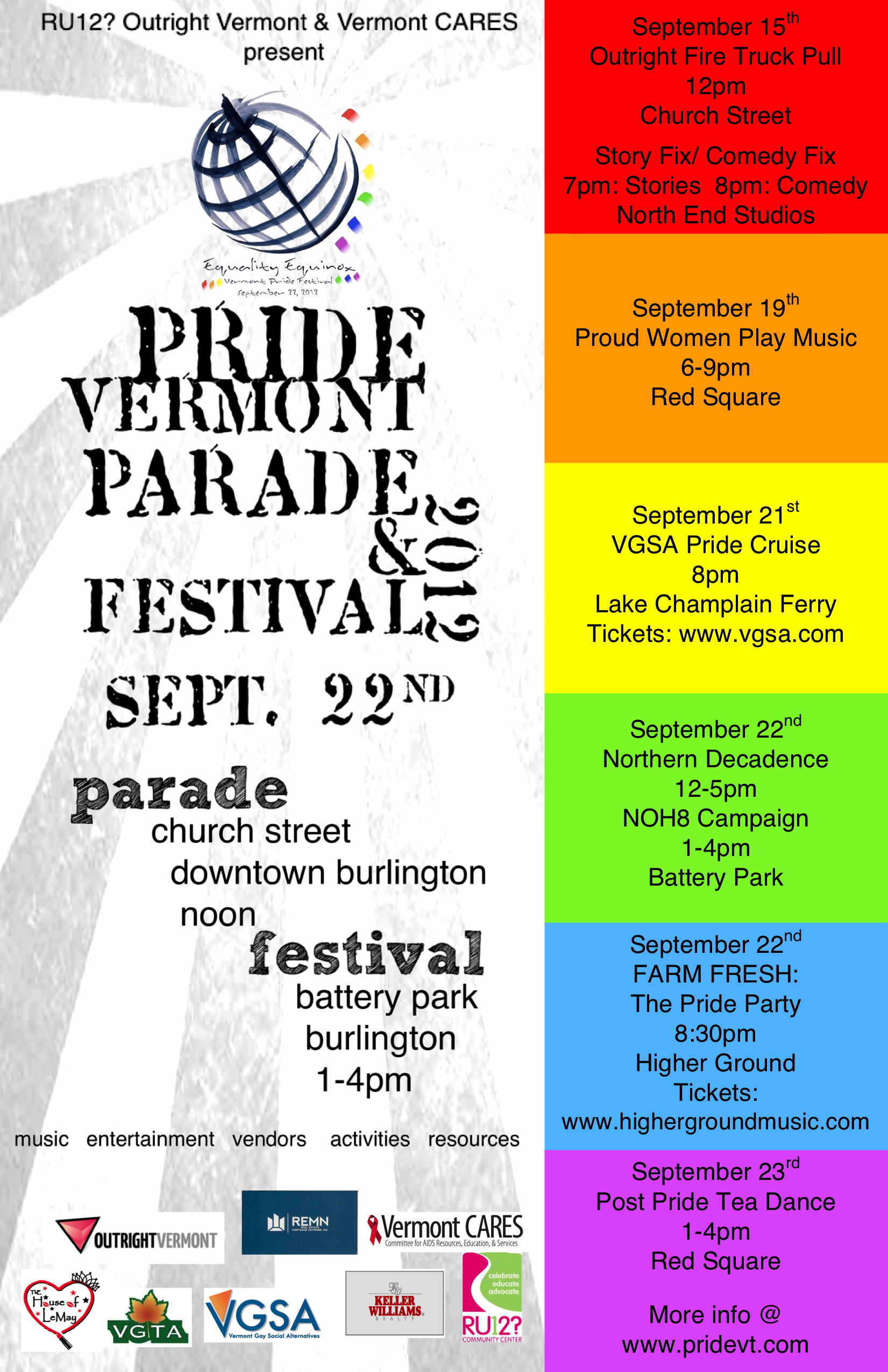 Pride Poster 11x17 Join TWO This Weekend at Pride Vermont