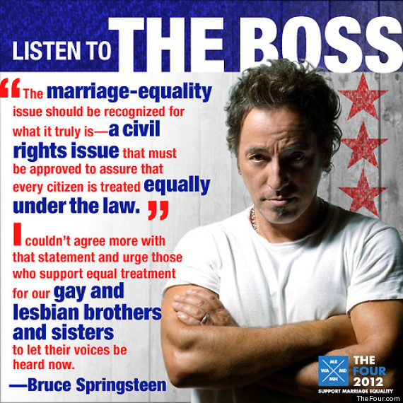 SPRINGSTEEN GAY MARRIAGE AD 570 Listen to The Boss: Springsteen Part of Marriage Equality Campaign