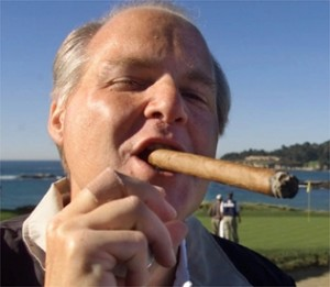 rushcigar 300x261 Rush Limbaugh Suggests Chris Christie Is Going Gay For Obama