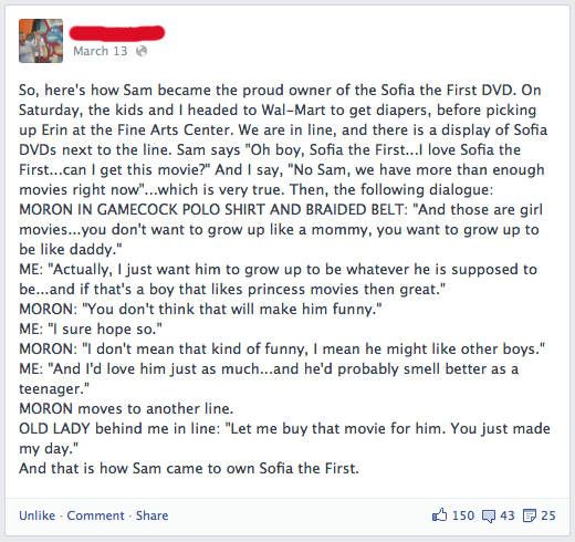 foty Actual Father Of The Year Story Involves A Little Boy And The Girly DVD He Wanted At Wal Mart