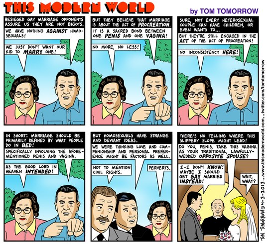 tomtomorrow Tom Tomorrow Sums Up Our Opponents Anti Marriage Equality Arguments