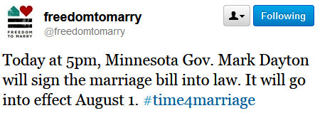 TodayMN Minnesota Governor Will Sign Marriage Law At 5:00 PM Today!