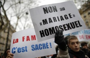 gay marriage france 300x196 Short of Victory, French Homophobes Resort to Violence