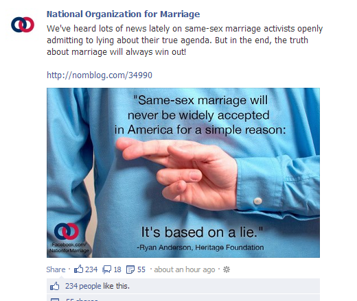 morons NOM Cherrypicks Opinions Of Two Individuals To Claim We Are Lying About Wanting Marriage Equality
