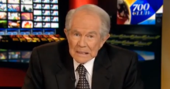 "Pat Robertson just after saying the words ""the way they do sex."""