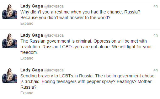gagatorussia Lady Gagas Message To Russia: Why Didnt You Arrest Me When You Had The Chance?
