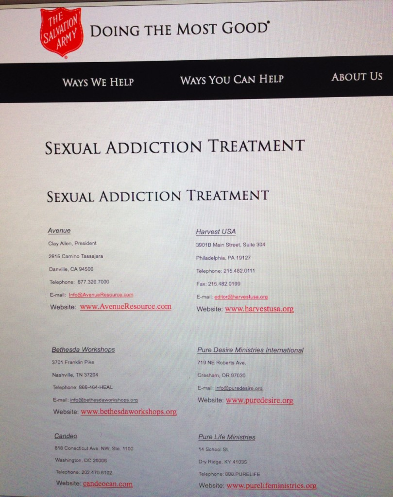 SA Page 809x1024 Salvation Army Refers People to Ex Gay Ministries That Believe Homosexuality Is An Addiction