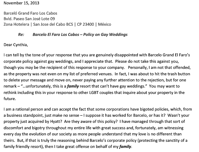 letter1 Denied Request To Host Wedding At Los Cabos Resort, Gay Couple Responds With Beautiful Letter On True Meaning Of Family