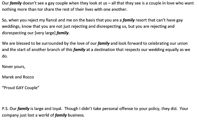 letter4 Denied Request To Host Wedding At Los Cabos Resort, Gay Couple Responds With Beautiful Letter On True Meaning Of Family