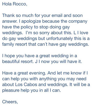 roccoletter Denied Request To Host Wedding At Los Cabos Resort, Gay Couple Responds With Beautiful Letter On True Meaning Of Family