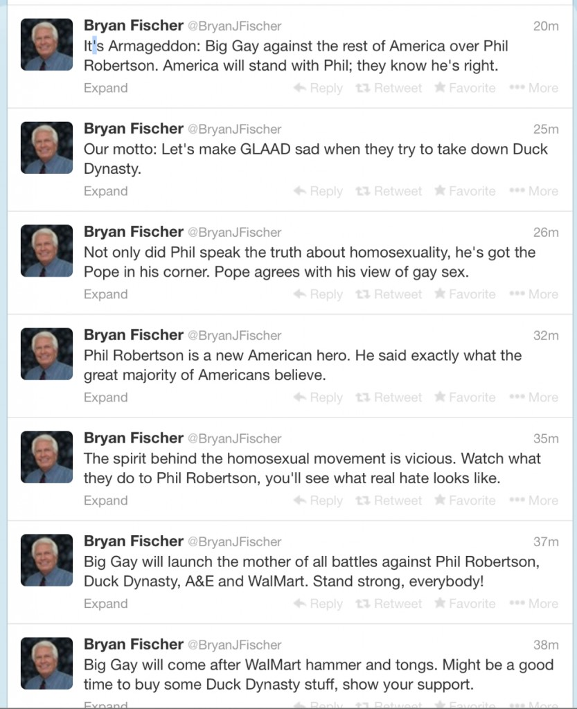 fischertweets 833x1024 Bryan Fischer Very Excited Duck Dynasty Guy Is Bigot
