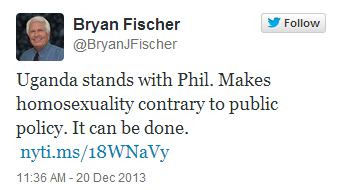fischeruganda Bryan Fischer Claims Uganda Stands With Duck Dynasty Bigot